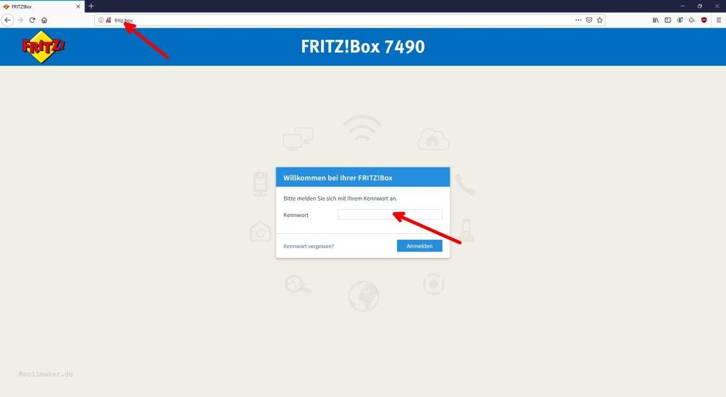Fritzbox Anmeldefenster